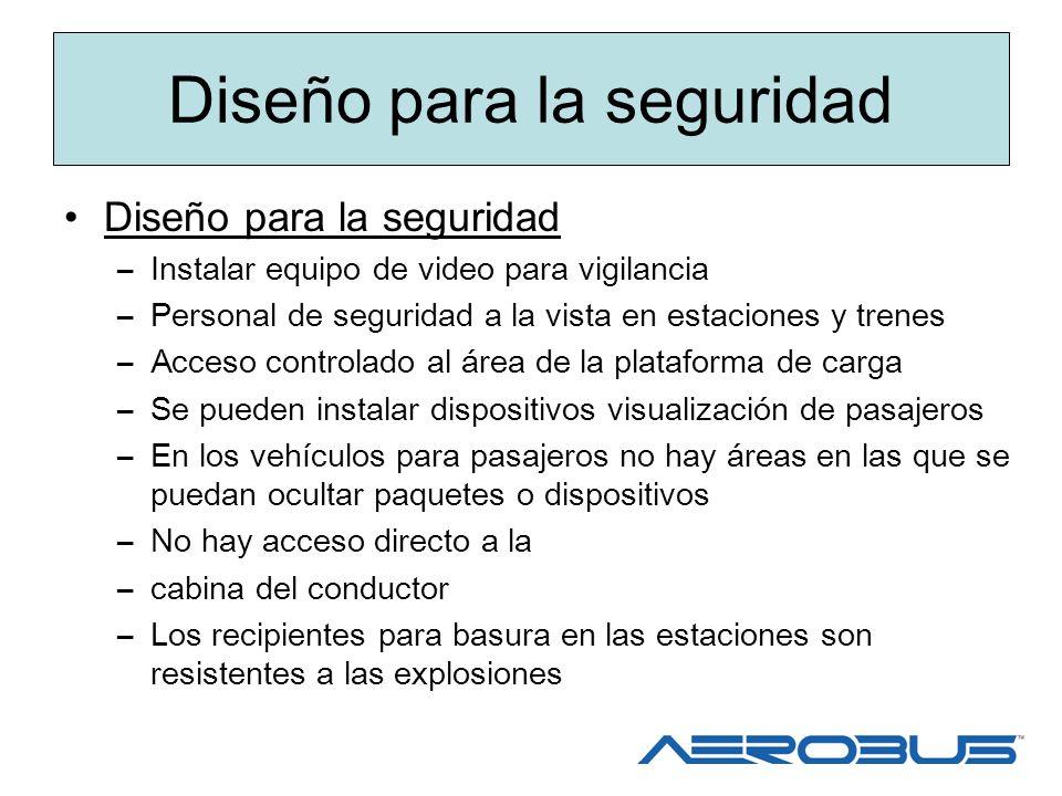 Diseño para la seguridad –Instalar equipo de video para vigilancia –Personal de seguridad a la vista en estaciones y trenes –Acceso controlado al área