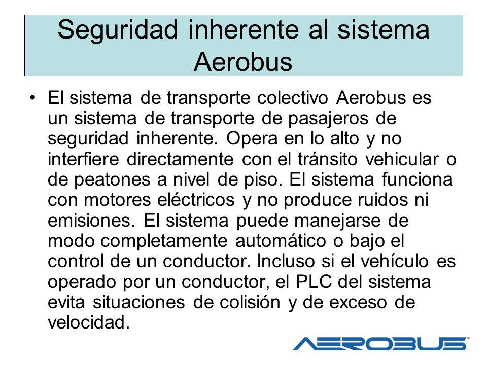 Seguridad inherente al sistema Aerobus El sistema de transporte colectivo Aerobus es un sistema de transporte de pasajeros de seguridad inherente. Ope