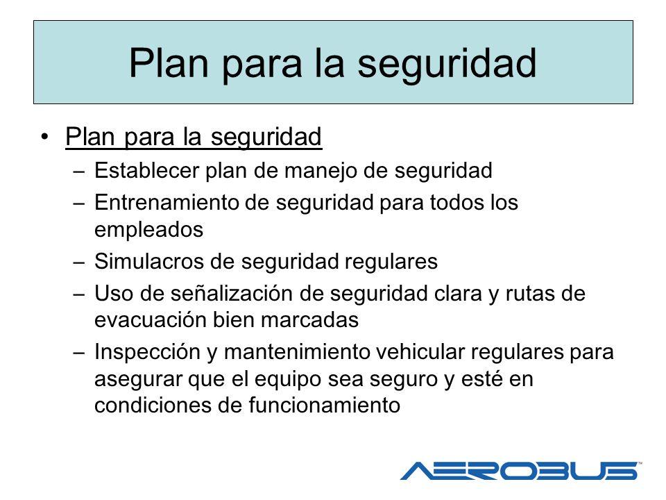 Plan para la seguridad –Establecer plan de manejo de seguridad –Entrenamiento de seguridad para todos los empleados –Simulacros de seguridad regulares
