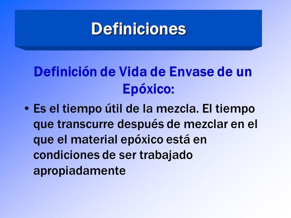 Definiciones Definición de Épóxico Endurecido: Un epóxico completamente endurecido es aquel en donde uno o más de sus componentes reactivos ha sido co