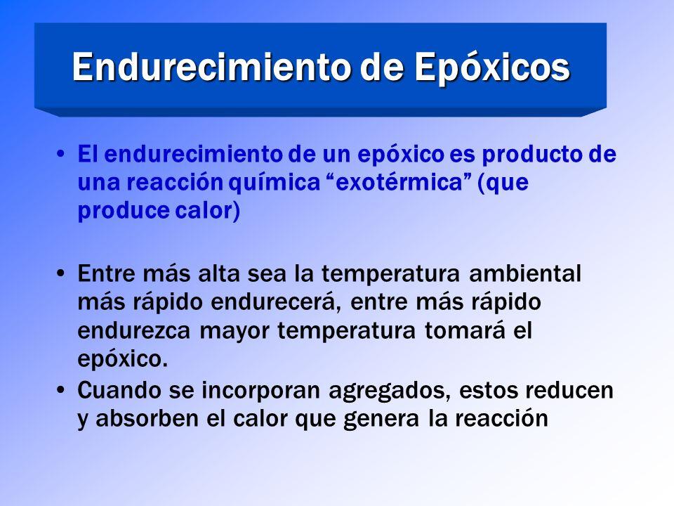 Dependientes de la masa y la temperatura La mayoría no endurece efectivamente cuando (reticulación) < 50°F Altas temperaturas y grandes masas resultan