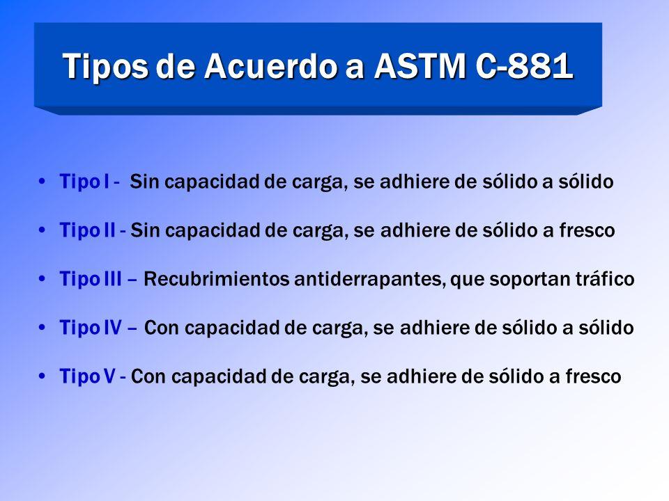Sociedad Americana para Pruebas de Materiales ASTM C 881 ASTM C-881 – Sistemas para Concreto a Base de Resina Epóxica Una especificación de desempeño,