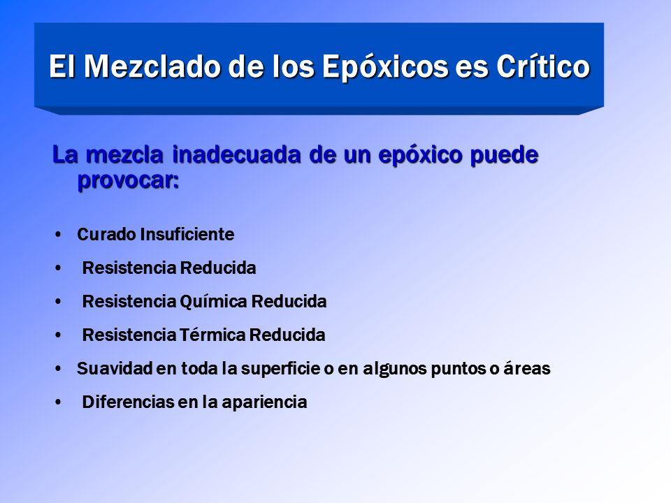 El Mezclado de los Epóxicos es Crítico Los materiales deben ser llevados a la temperatura adecuada antes de ser mezclados La Base Parte A & y el Compu