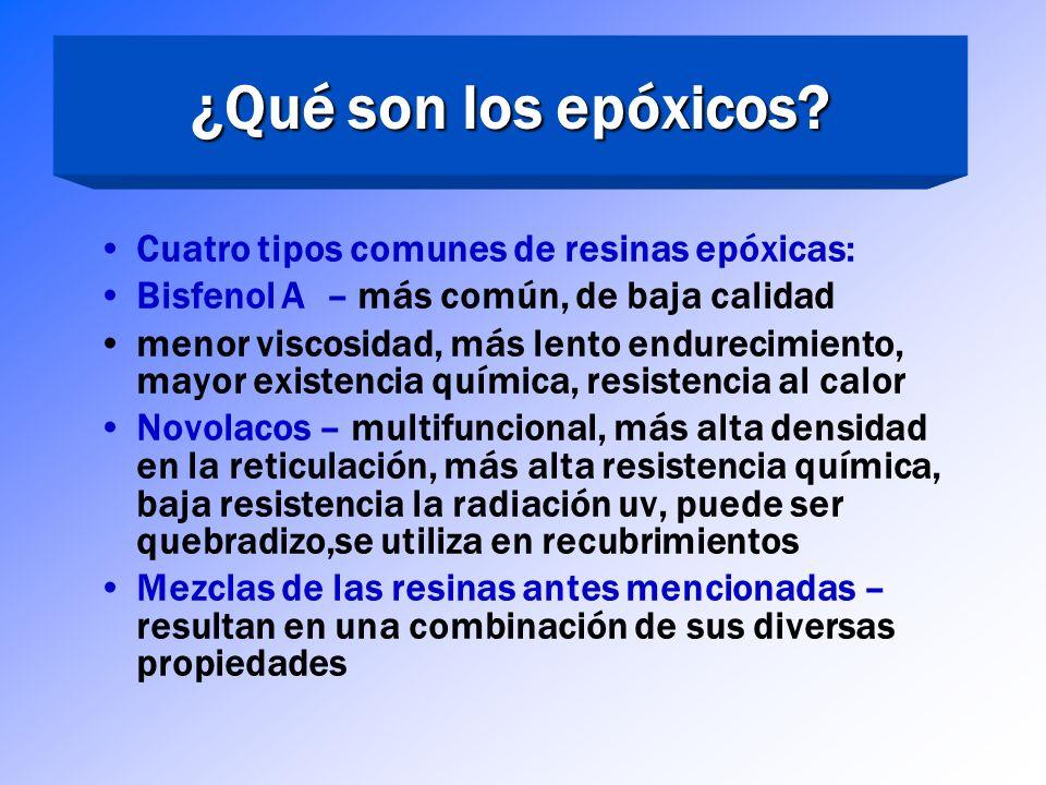 Los epóxicos son resinas termoendurecibles Cuando se endurecen y se vuelven a exponer al calor no se suavizarán Otras resinas son llamadas resinas ter
