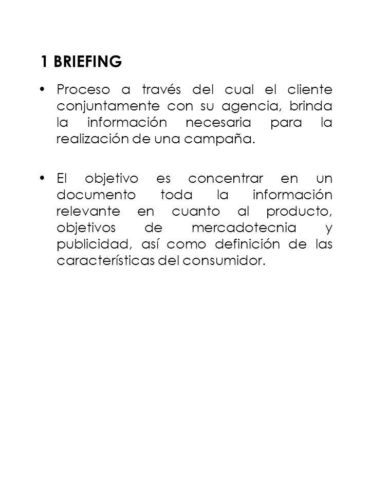 1 BRIEFING Proceso a través del cual el cliente conjuntamente con su agencia, brinda la información necesaria para la realización de una campaña. El o
