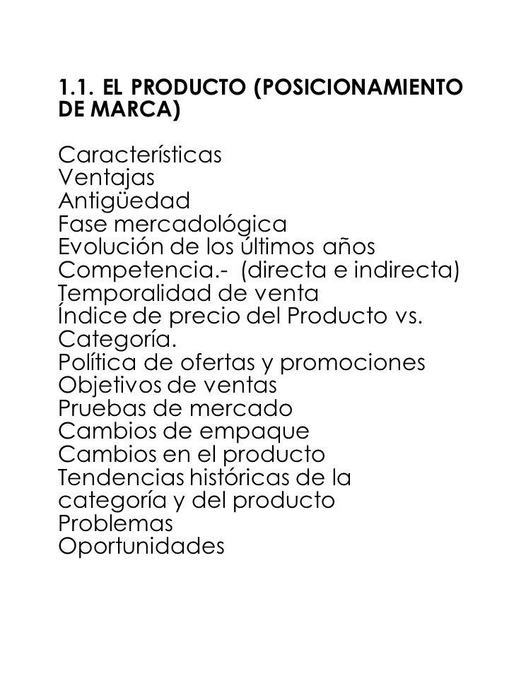 1.1. EL PRODUCTO (POSICIONAMIENTO DE MARCA) Características Ventajas Antigüedad Fase mercadológica Evolución de los últimos años Competencia.- (direct