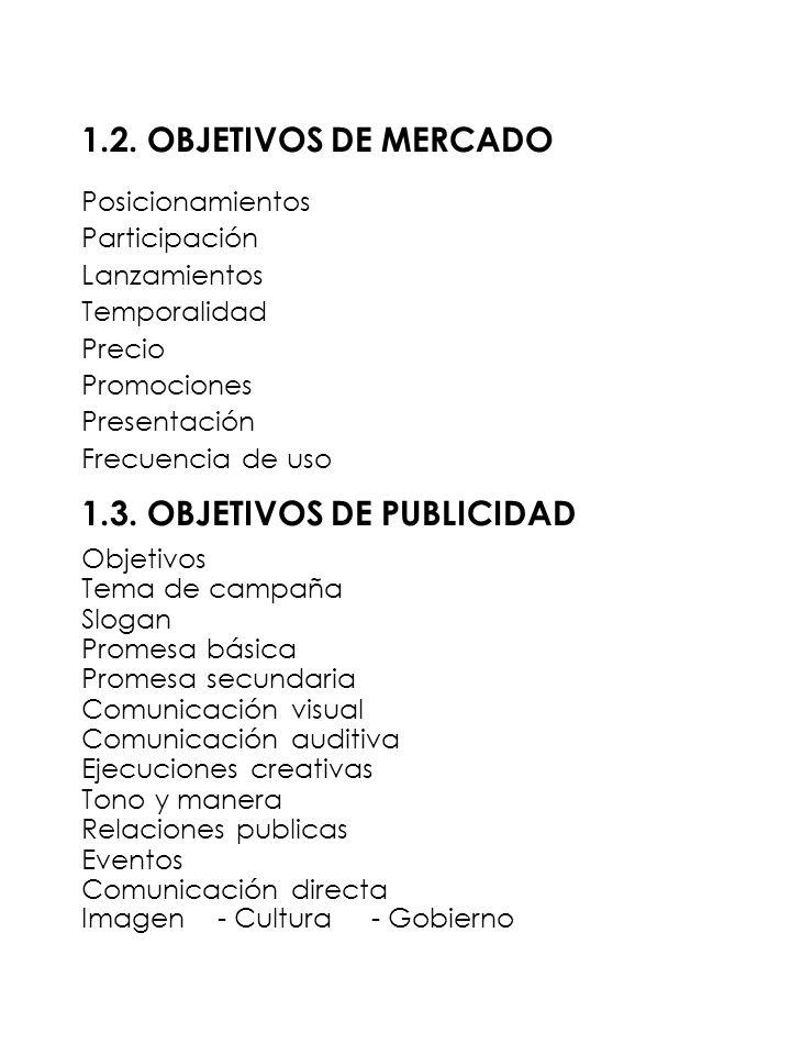 1.2. OBJETIVOS DE MERCADO Posicionamientos Participación Lanzamientos Temporalidad Precio Promociones Presentación Frecuencia de uso 1.3. OBJETIVOS DE