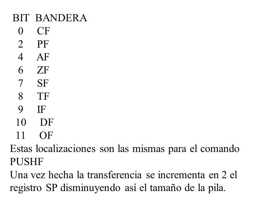 BIT BANDERA 0 CF 2 PF 4 AF 6 ZF 7 SF 8 TF 9 IF 10 DF 11 OF Estas localizaciones son las mismas para el comando PUSHF Una vez hecha la transferencia se