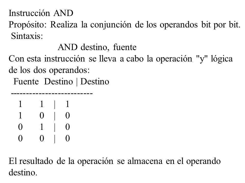 Instrucción AND Propósito: Realiza la conjunción de los operandos bit por bit. Sintaxis: AND destino, fuente Con esta instrucción se lleva a cabo la o