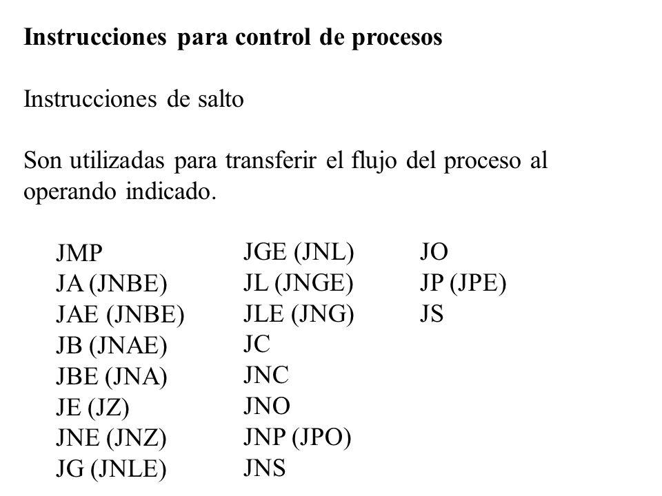 Instrucciones para control de procesos Instrucciones de salto Son utilizadas para transferir el flujo del proceso al operando indicado. JMP JA (JNBE)