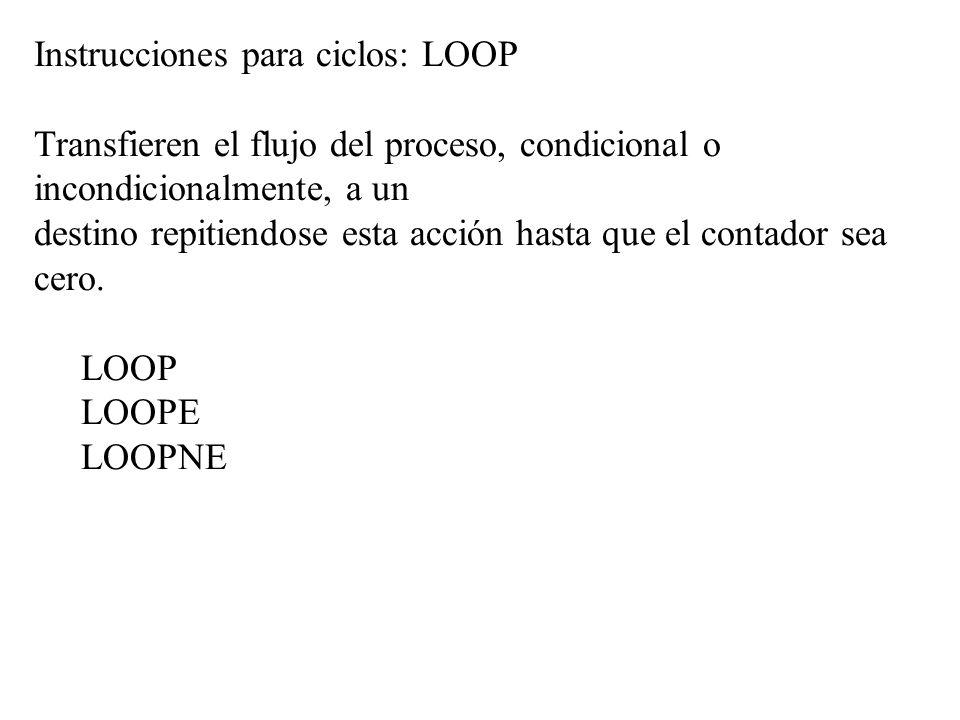 Instrucciones para ciclos: LOOP Transfieren el flujo del proceso, condicional o incondicionalmente, a un destino repitiendose esta acción hasta que el