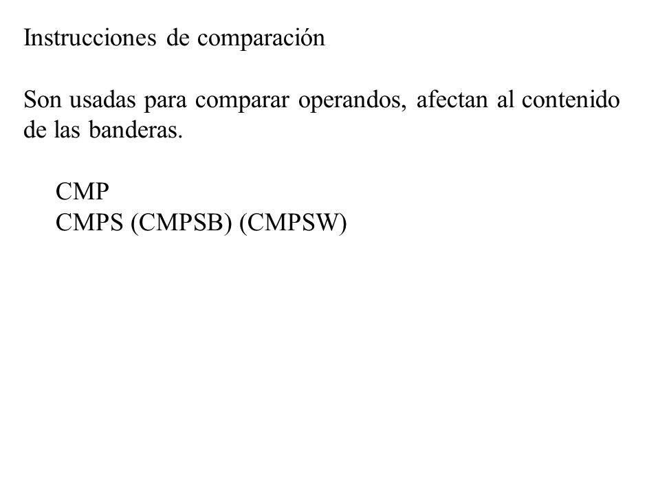 Instrucciones de comparación Son usadas para comparar operandos, afectan al contenido de las banderas. CMP CMPS (CMPSB) (CMPSW)