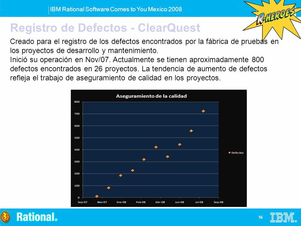 IBM Rational Software Comes to You Mexico 2008 16 Registro de Defectos - ClearQuest Creado para el registro de los defectos encontrados por la fábrica