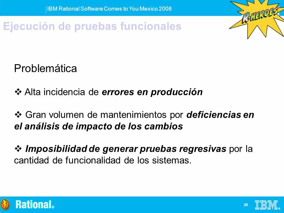 IBM Rational Software Comes to You Mexico 2008 20 Ejecución de pruebas funcionales Problemática Alta incidencia de errores en producción Gran volumen
