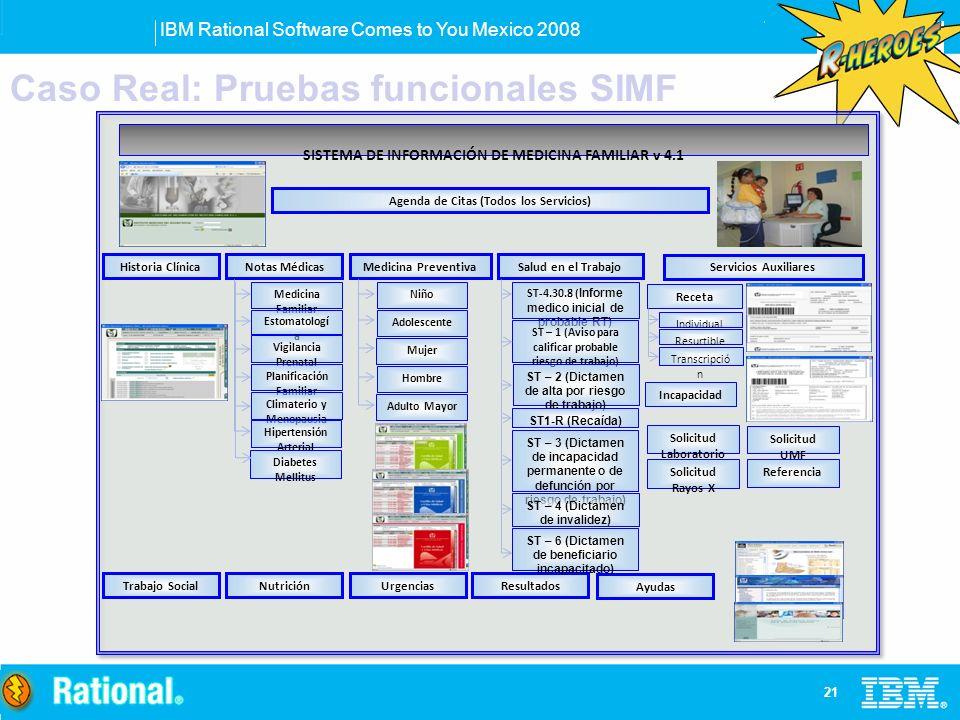 IBM Rational Software Comes to You Mexico 2008 21 SISTEMA DE INFORMACIÓN DE MEDICINA FAMILIAR v 4.1 Historia ClínicaNotas MédicasMedicina Preventiva M