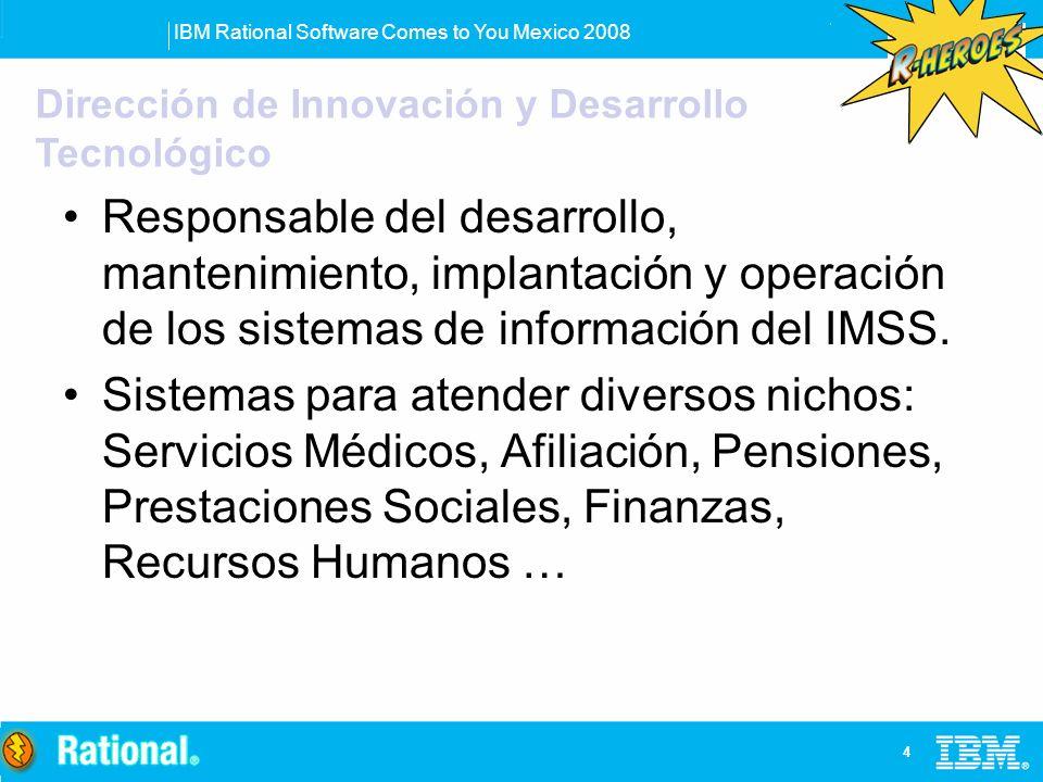 IBM Rational Software Comes to You Mexico 2008 4 Responsable del desarrollo, mantenimiento, implantación y operación de los sistemas de información de