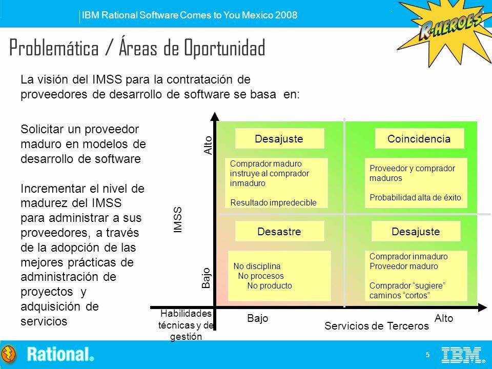 IBM Rational Software Comes to You Mexico 2008 5 Problemática / Áreas de Oportunidad La visión del IMSS para la contratación de proveedores de desarro