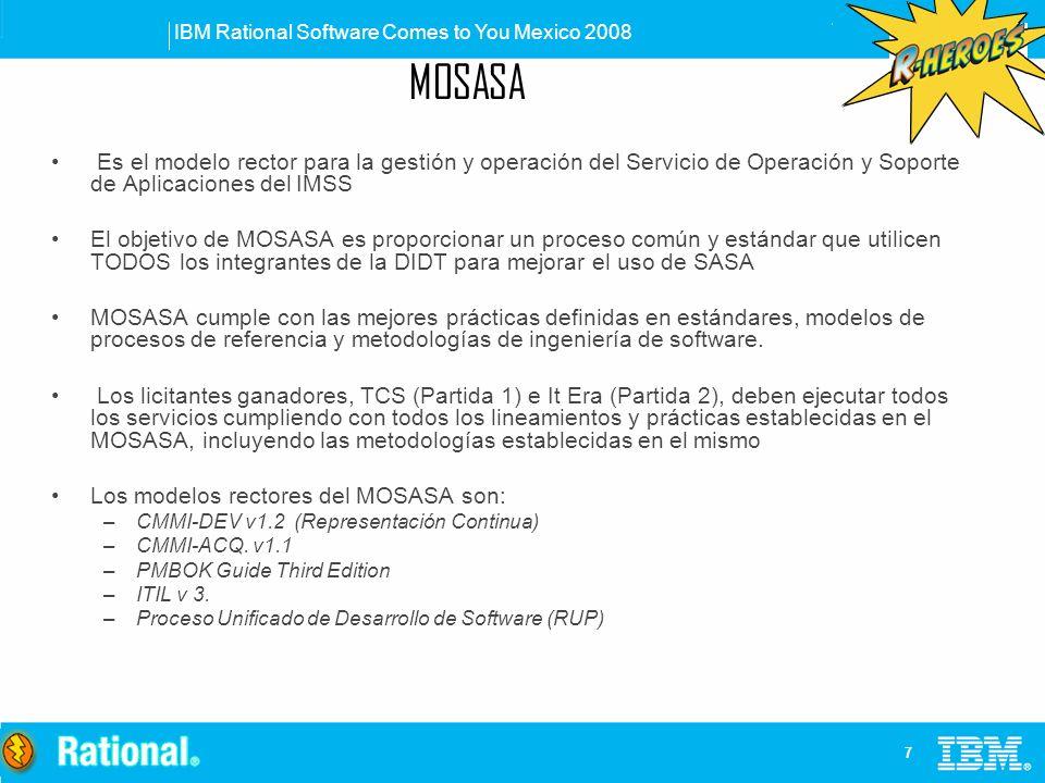 IBM Rational Software Comes to You Mexico 2008 7 Es el modelo rector para la gestión y operación del Servicio de Operación y Soporte de Aplicaciones d
