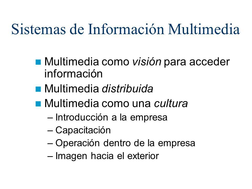 Sistemas de Información Multimedia Multimedia como visión para acceder información Multimedia distribuida Multimedia como una cultura –Introducción a