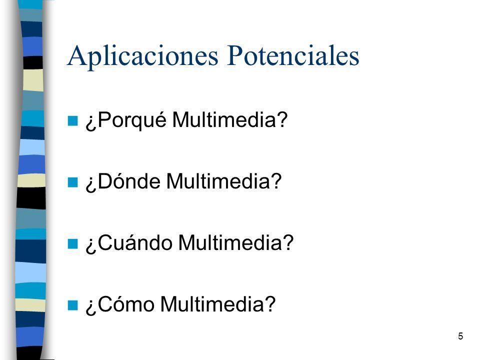 5 Aplicaciones Potenciales ¿Porqué Multimedia? ¿Dónde Multimedia? ¿Cuándo Multimedia? ¿Cómo Multimedia?