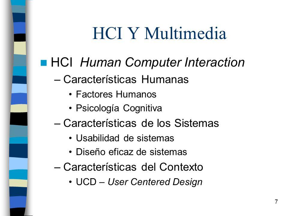 7 HCI Y Multimedia HCI Human Computer Interaction –Características Humanas Factores Humanos Psicología Cognitiva –Características de los Sistemas Usab