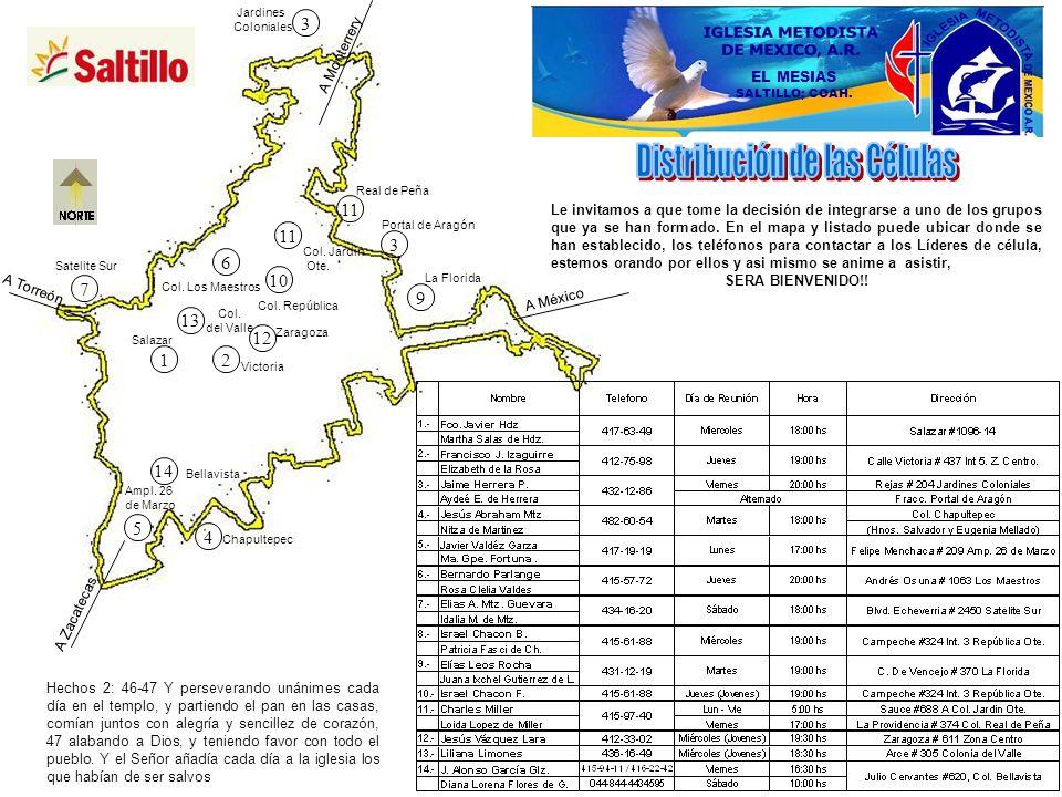A Monterrery A México A Zacatecas A Torreón 3 3 12 4 5 6 10 7 9 11 Victoria Satelite Sur Jardines Coloniales Ampl. 26 de Marzo Salazar Col. Los Maestr