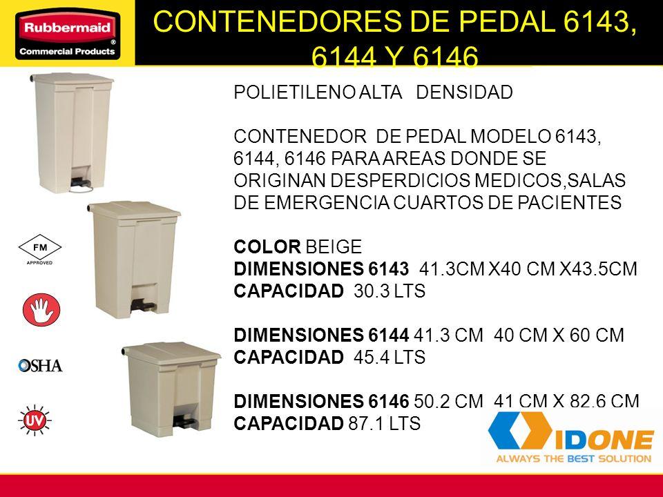 CONTENEDORES DE PEDAL 6143, 6144 Y 6146 POLIETILENO ALTA DENSIDAD CONTENEDOR DE PEDAL MODELO 6143, 6144, 6146 PARA AREAS DONDE SE ORIGINAN DESPERDICIO