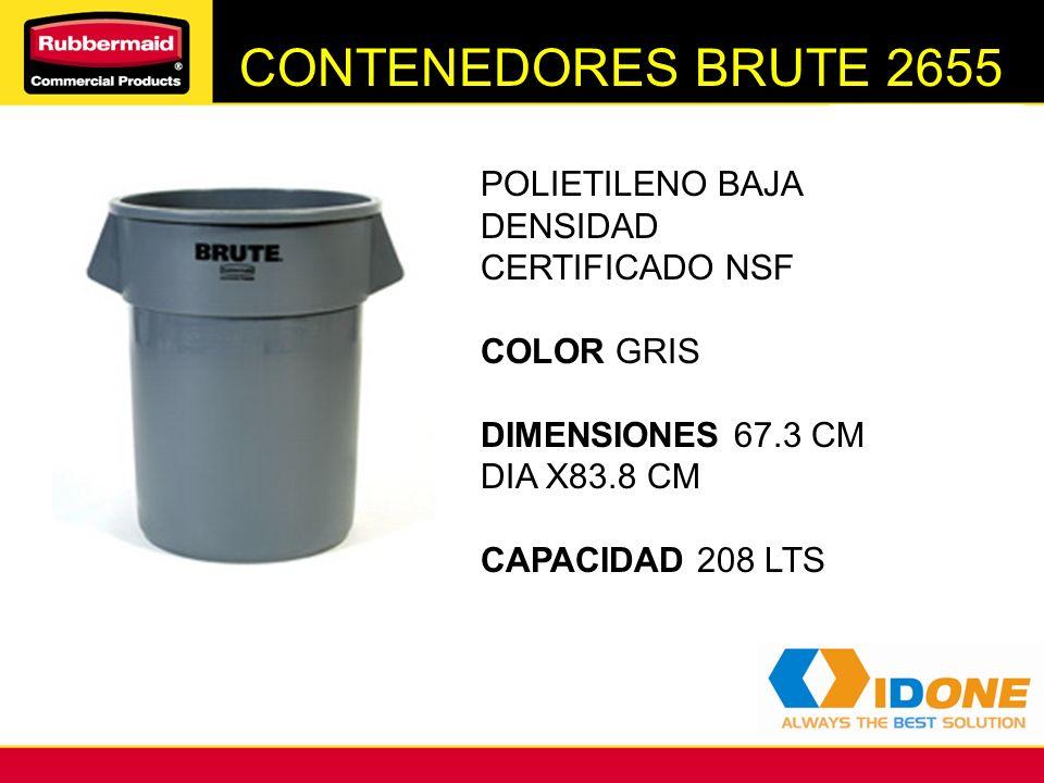 CONTENEDORES BRUTE 2655 POLIETILENO BAJA DENSIDAD CERTIFICADO NSF COLOR GRIS DIMENSIONES 67.3 CM DIA X83.8 CM CAPACIDAD 208 LTS