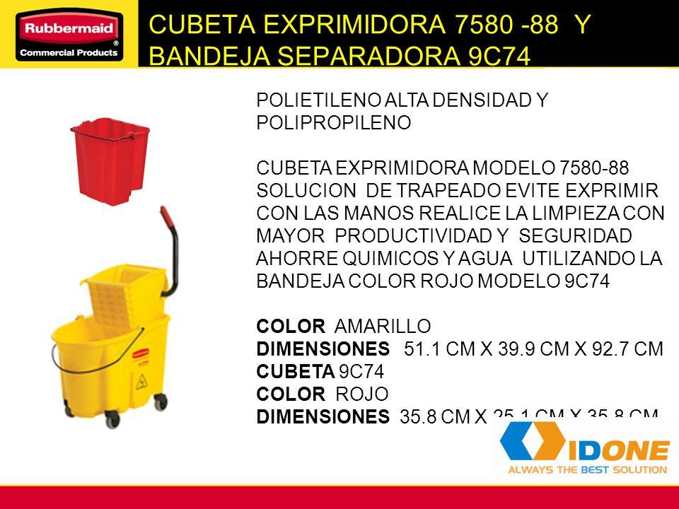 CUBETA EXPRIMIDORA 7580 -88 Y BANDEJA SEPARADORA 9C74 POLIETILENO ALTA DENSIDAD Y POLIPROPILENO CUBETA EXPRIMIDORA MODELO 7580-88 SOLUCION DE TRAPEADO