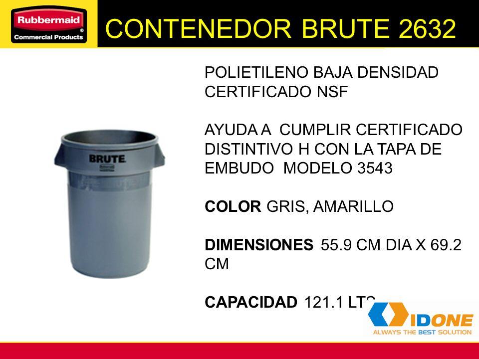 CONTENEDORES BRUTE 2620 POLIETILENO BAJA DENSIDAD CERTIFICADO NSF COLOR GRIS, DIMENSIONES 49.5 CM DIA X 58.1 CM CAPACIDAD 75.7.