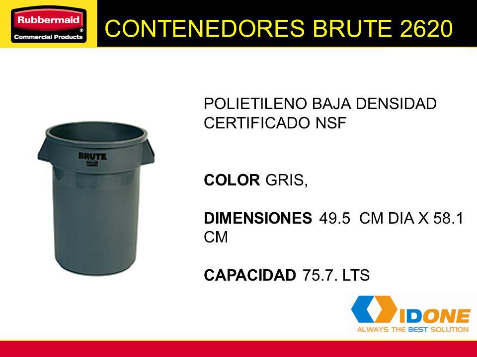 CONTENEDORES BRUTE 2620 POLIETILENO BAJA DENSIDAD CERTIFICADO NSF COLOR GRIS, DIMENSIONES 49.5 CM DIA X 58.1 CM CAPACIDAD 75.7. LTS