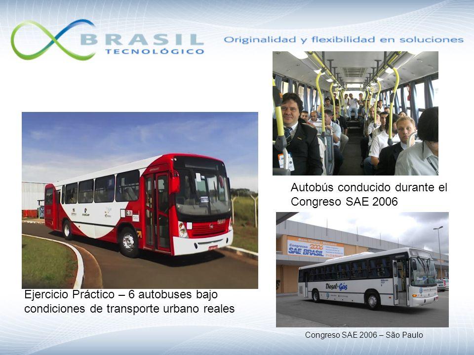 Ejercicio Práctico – 6 autobuses bajo condiciones de transporte urbano reales Autobús conducido durante el Congreso SAE 2006 Congreso SAE 2006 – São P