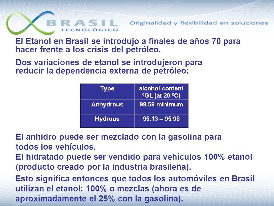 El Etanol en Brasil se introdujo a finales de años 70 para hacer frente a los crisis del petróleo. Dos variaciones de etanol se introdujeron para redu
