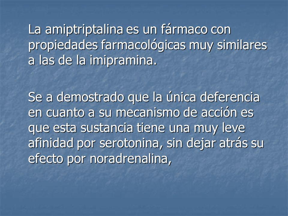 La amiptriptalina es un fármaco con propiedades farmacológicas muy similares a las de la imipramina. Se a demostrado que la única deferencia en cuanto