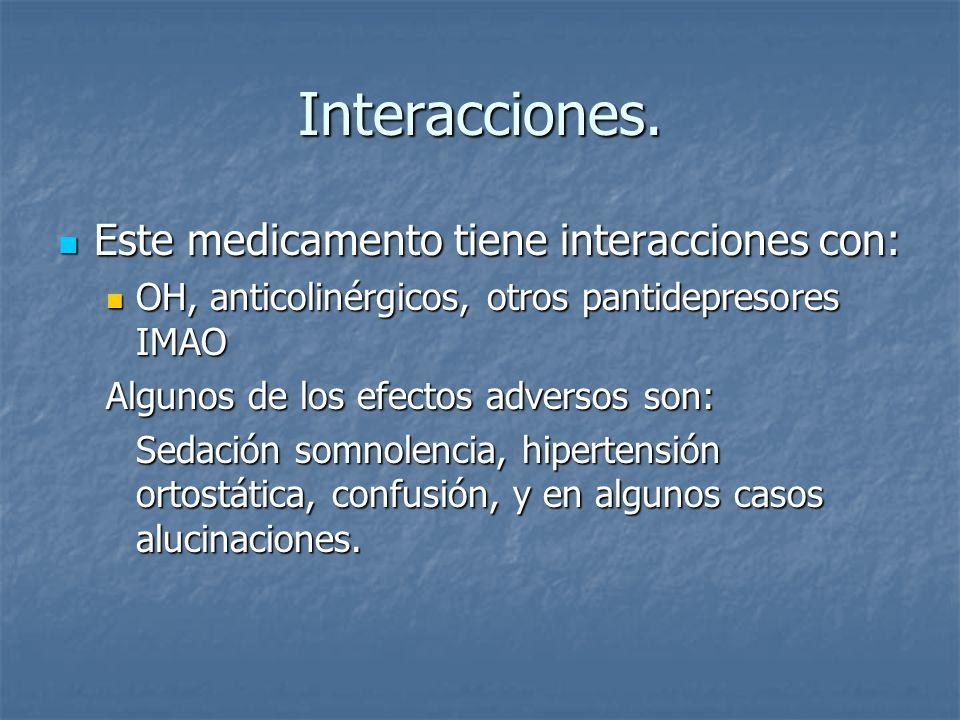 Interacciones. Este medicamento tiene interacciones con: Este medicamento tiene interacciones con: OH, anticolinérgicos, otros pantidepresores IMAO OH