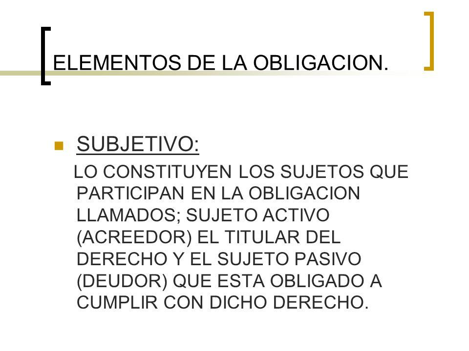 ELEMENTOS DE LA OBLIGACION. SUBJETIVO: LO CONSTITUYEN LOS SUJETOS QUE PARTICIPAN EN LA OBLIGACION LLAMADOS; SUJETO ACTIVO (ACREEDOR) EL TITULAR DEL DE