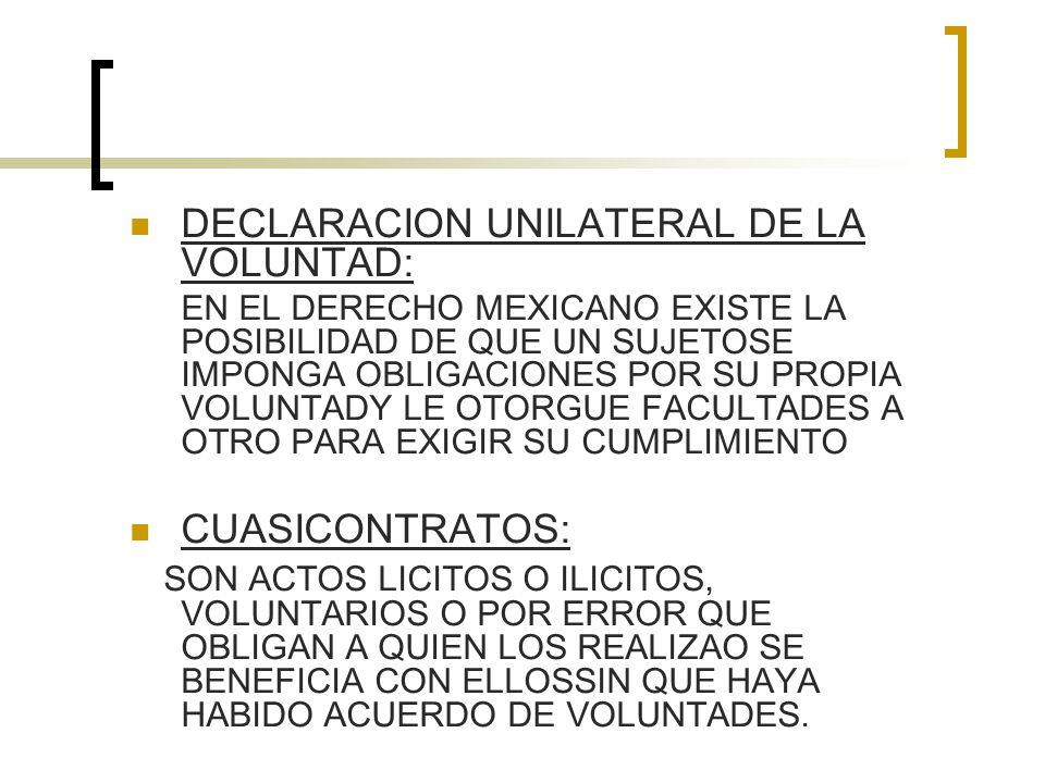 DECLARACION UNILATERAL DE LA VOLUNTAD: EN EL DERECHO MEXICANO EXISTE LA POSIBILIDAD DE QUE UN SUJETOSE IMPONGA OBLIGACIONES POR SU PROPIA VOLUNTADY LE