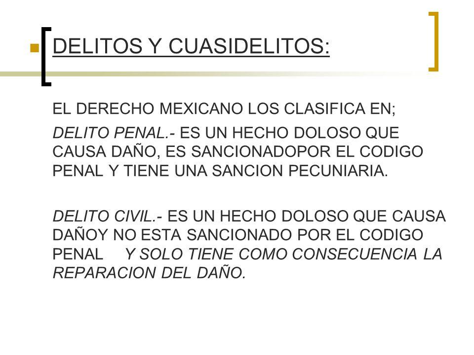 DELITOS Y CUASIDELITOS: EL DERECHO MEXICANO LOS CLASIFICA EN; DELITO PENAL.- ES UN HECHO DOLOSO QUE CAUSA DAÑO, ES SANCIONADOPOR EL CODIGO PENAL Y TIE