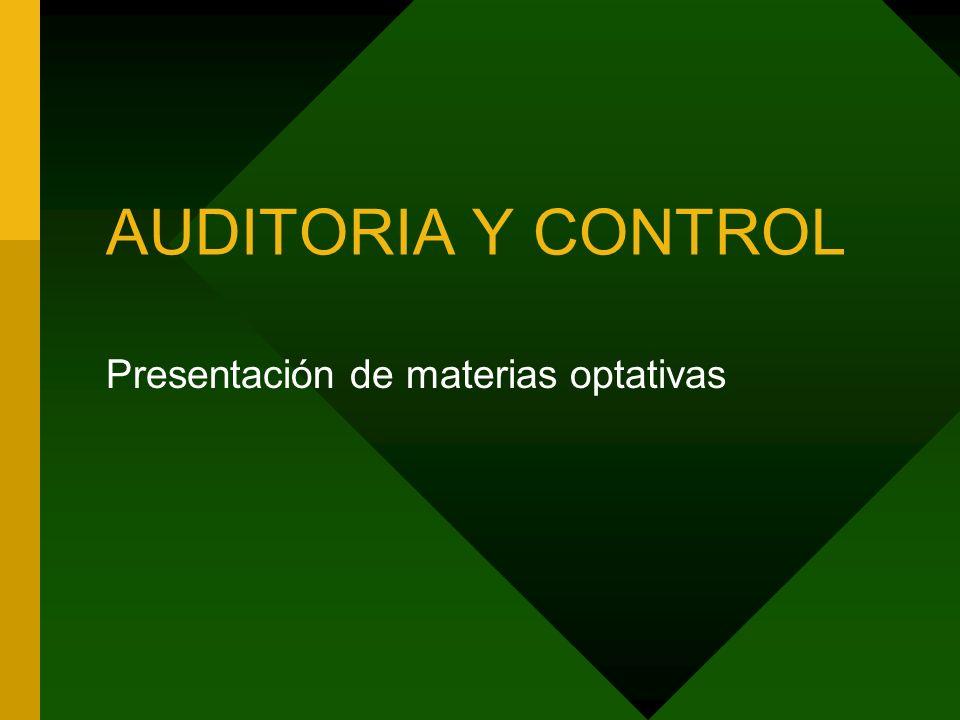 AUDITORIA Y CONTROL Presentación de materias optativas