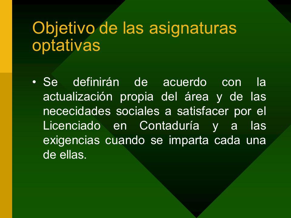 Objetivo de las asignaturas optativas Se definirán de acuerdo con la actualización propia del área y de las nececidades sociales a satisfacer por el L