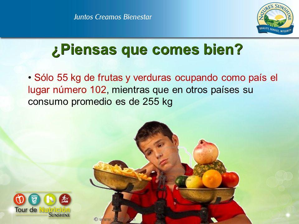 Sólo 55 kg de frutas y verduras ocupando como país el lugar número 102, mientras que en otros países su consumo promedio es de 255 kg ¿Piensas que com
