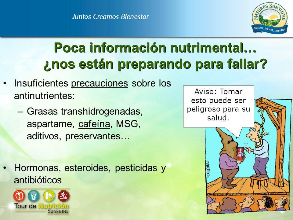 Poca información nutrimental… ¿nos están preparando para fallar? Insuficientes precauciones sobre los antinutrientes: –Grasas transhidrogenadas, aspar