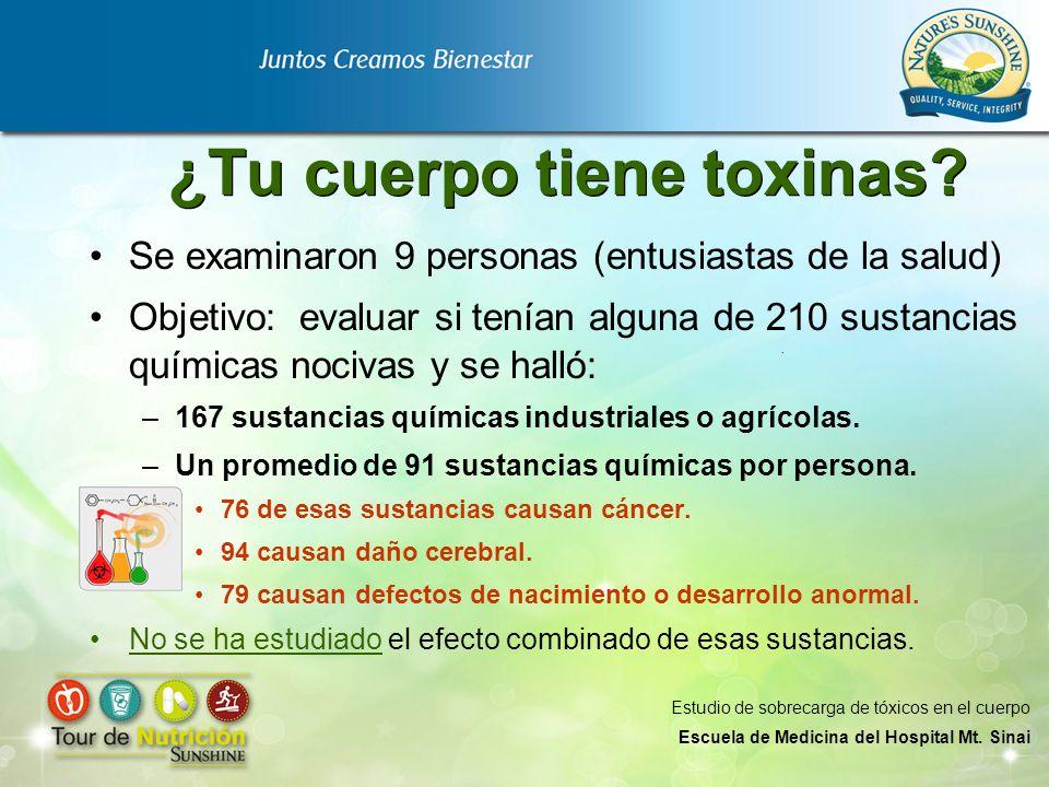 ¿Tu cuerpo tiene toxinas? Se examinaron 9 personas (entusiastas de la salud) Objetivo: evaluar si tenían alguna de 210 sustancias químicas nocivas y s