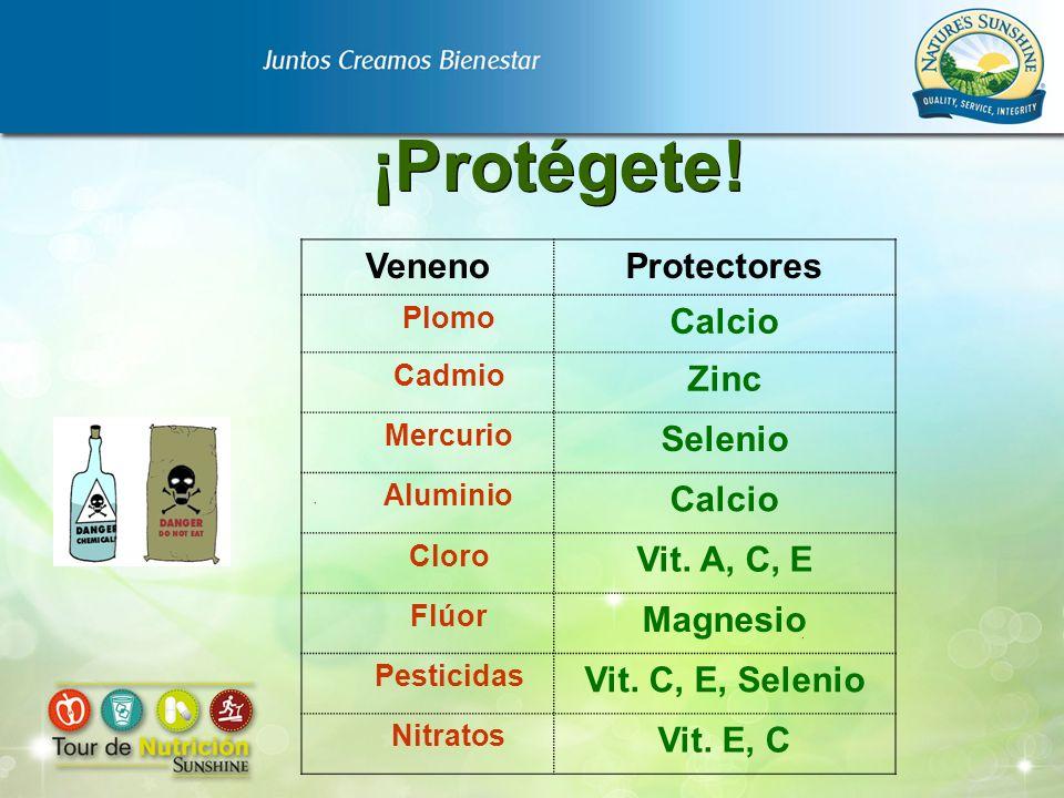 ¡Protégete! VenenoProtectores Plomo Calcio Cadmio Zinc Mercurio Selenio Aluminio Calcio Cloro Vit. A, C, E Flúor Magnesio Pesticidas Vit. C, E, Seleni