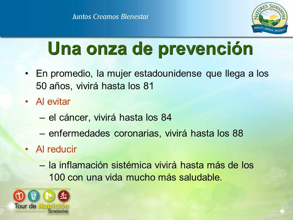 Una onza de prevención En promedio, la mujer estadounidense que llega a los 50 años, vivirá hasta los 81 Al evitar –el cáncer, vivirá hasta los 84 –en