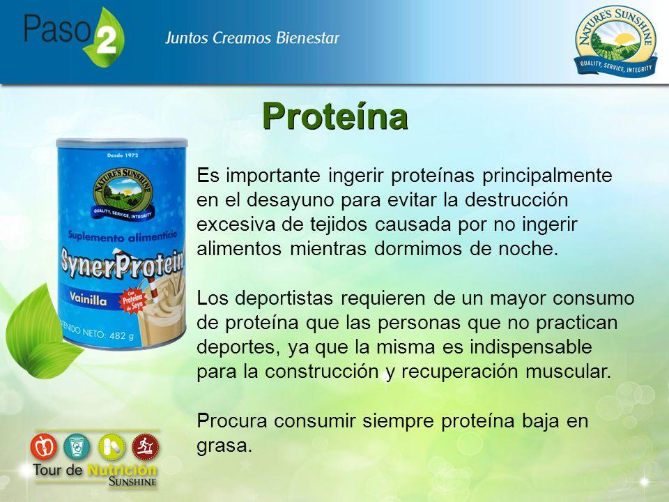 Proteína Es importante ingerir proteínas principalmente en el desayuno para evitar la destrucción excesiva de tejidos causada por no ingerir alimentos