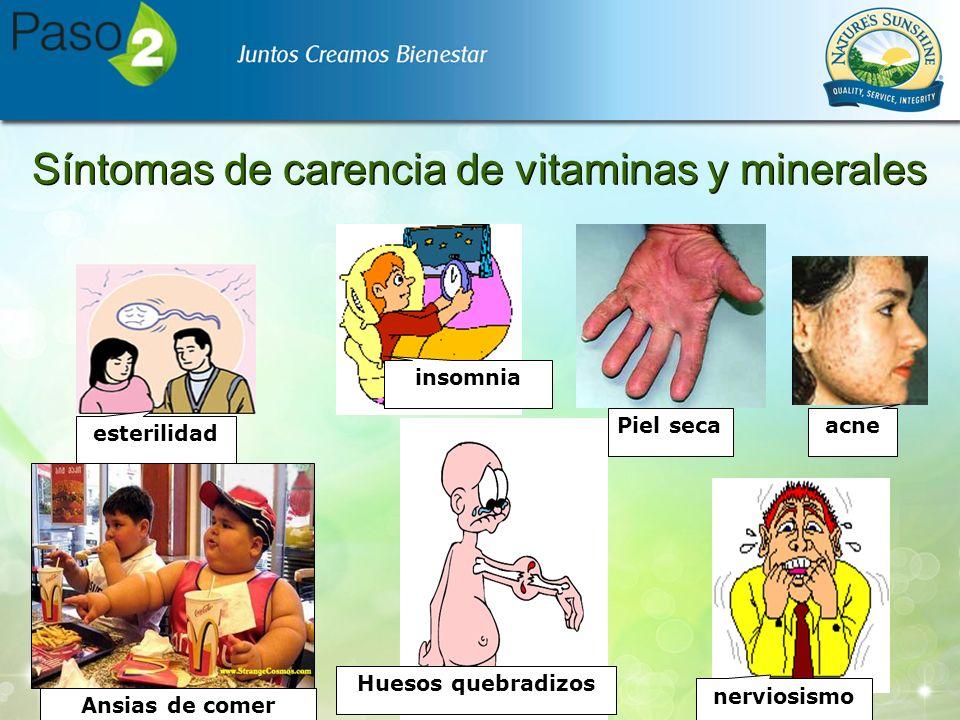 Síntomas de carencia de vitaminas y minerales Piel seca esterilidad Ansias de comer acne nerviosismo insomnia Huesos quebradizos