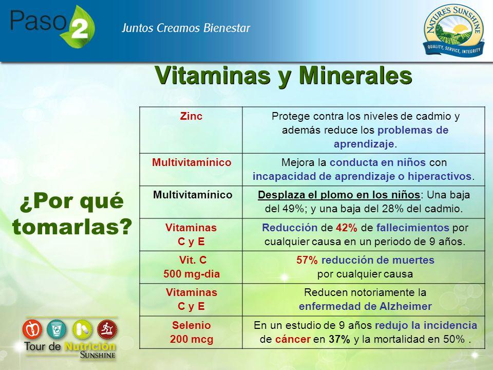 Vitaminas y Minerales Zinc Protege contra los niveles de cadmio y además reduce los problemas de aprendizaje. Multivitamínico Mejora la conducta en ni