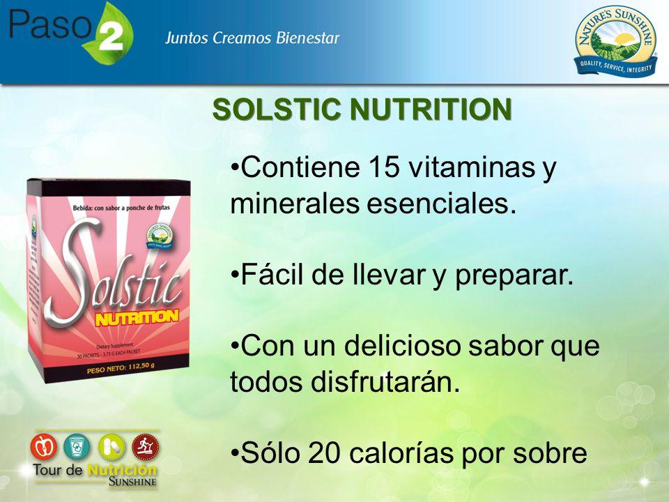 SOLSTIC NUTRITION Contiene 15 vitaminas y minerales esenciales. Fácil de llevar y preparar. Con un delicioso sabor que todos disfrutarán. Sólo 20 calo