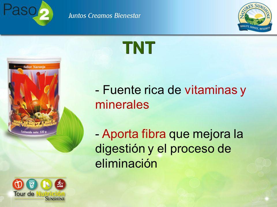 TNT - Fuente rica de vitaminas y minerales - Aporta fibra que mejora la digestión y el proceso de eliminación